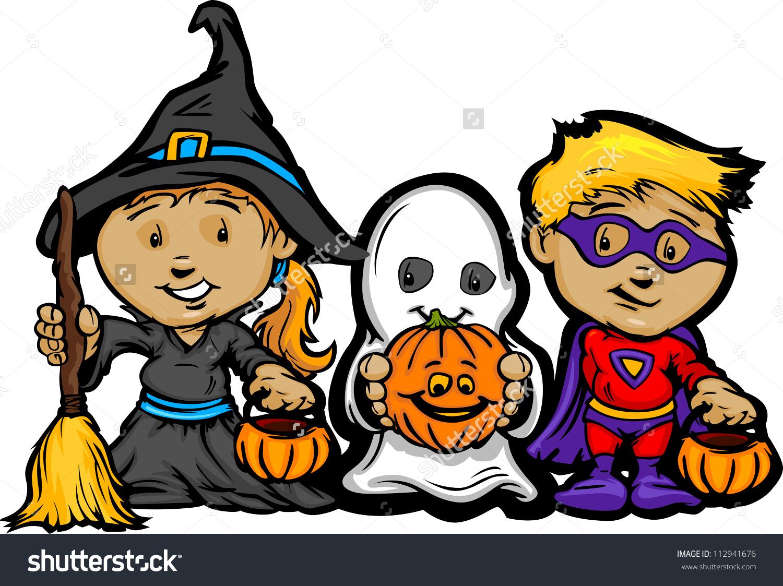 Cartoon Vector Image Of A Happy Halloween Children Girl With Trick.