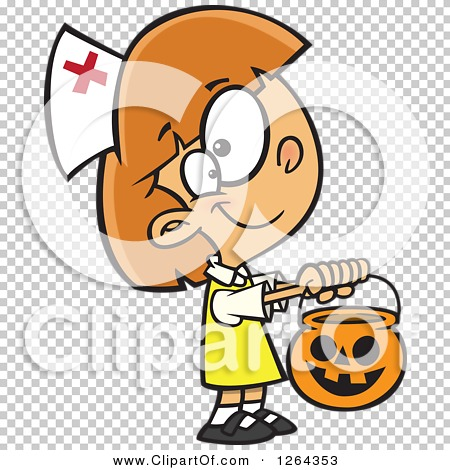 Clipart of a Cartoon Caucasian Girl Trick or Treating in a Nurse.