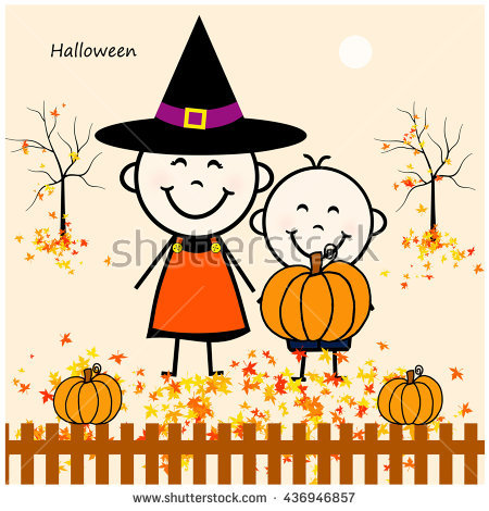 Stick Figure Boy Girl Halloween Stock Illustration 436946866.