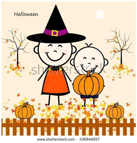 Stick Figure Boy Girl Halloween Stock Illustration 436946866.