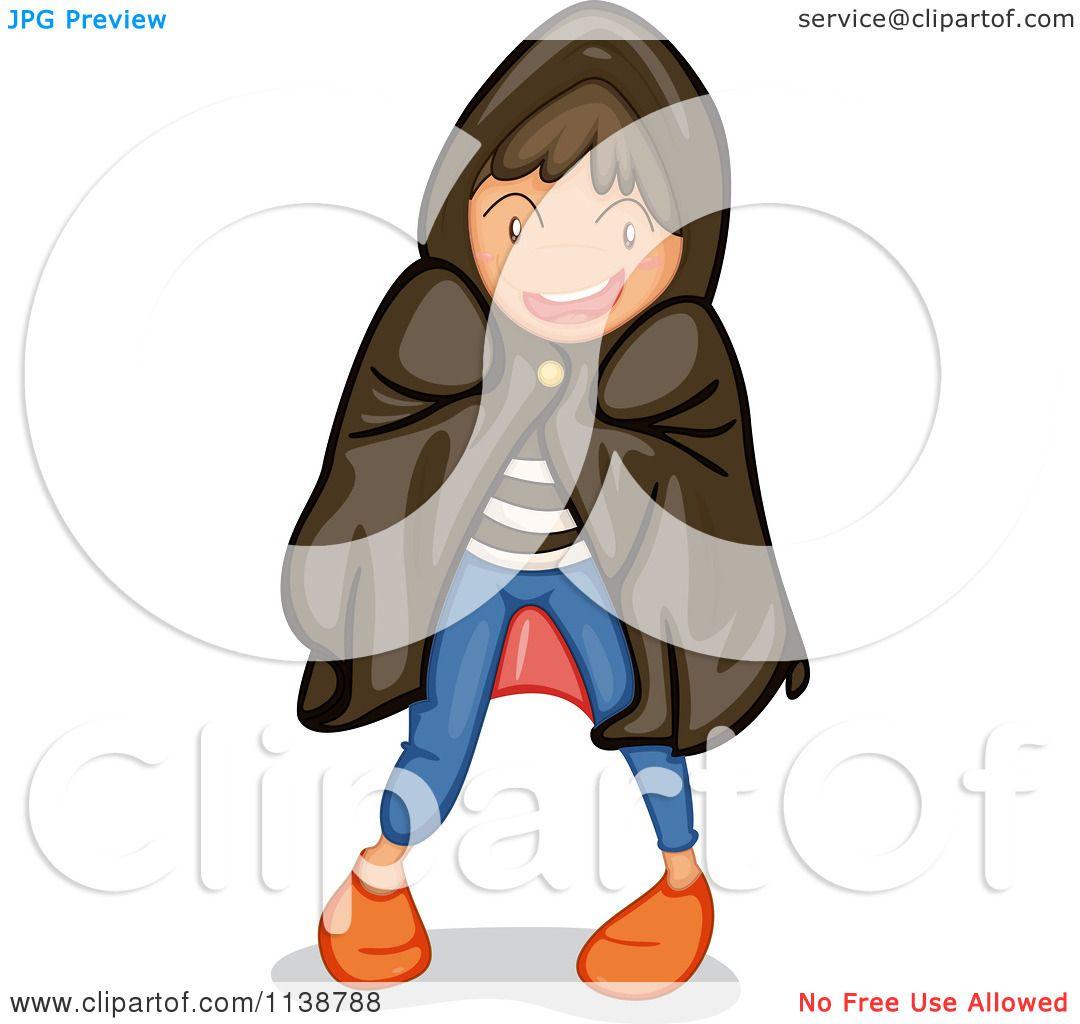 Cartoon Of A Halloween Boy Trick Or Treating In A Hood.