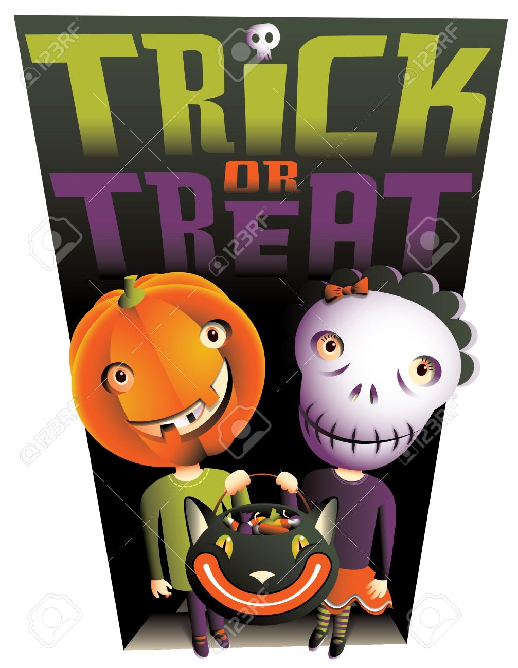 Trick Or Treat A Cute Boy And Girl With Jack OLantern And Skull.