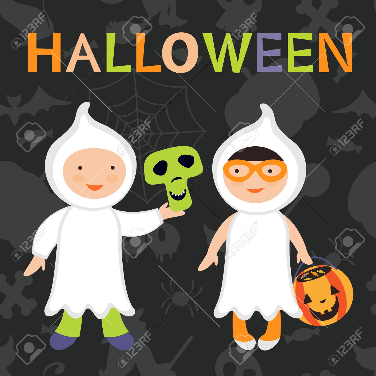 Trick Or Treat Kids Illustration. Boy And Girl In Ghost Costumes.