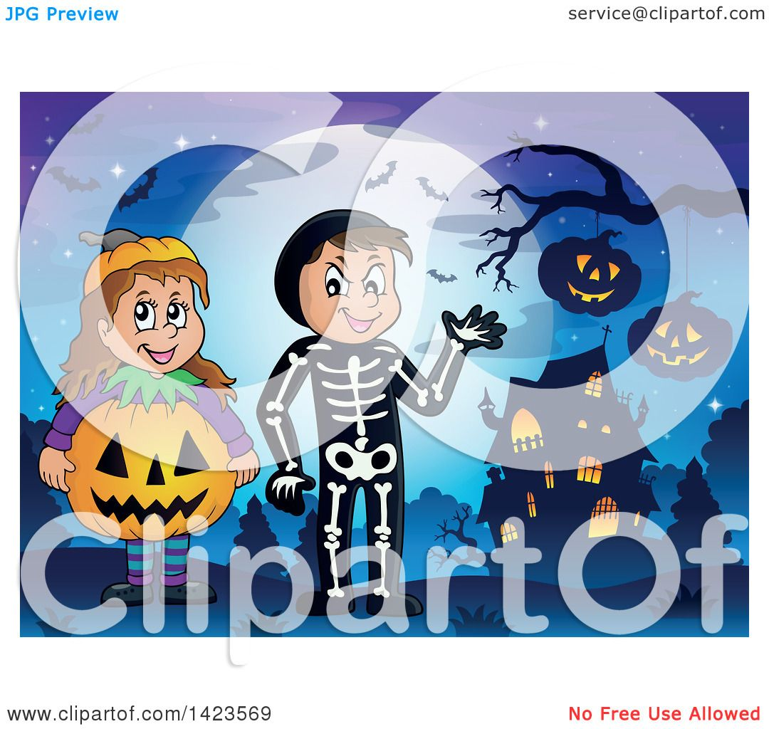 Clipart of a Boy and Girl Trick or Treating in Pumpkin and.