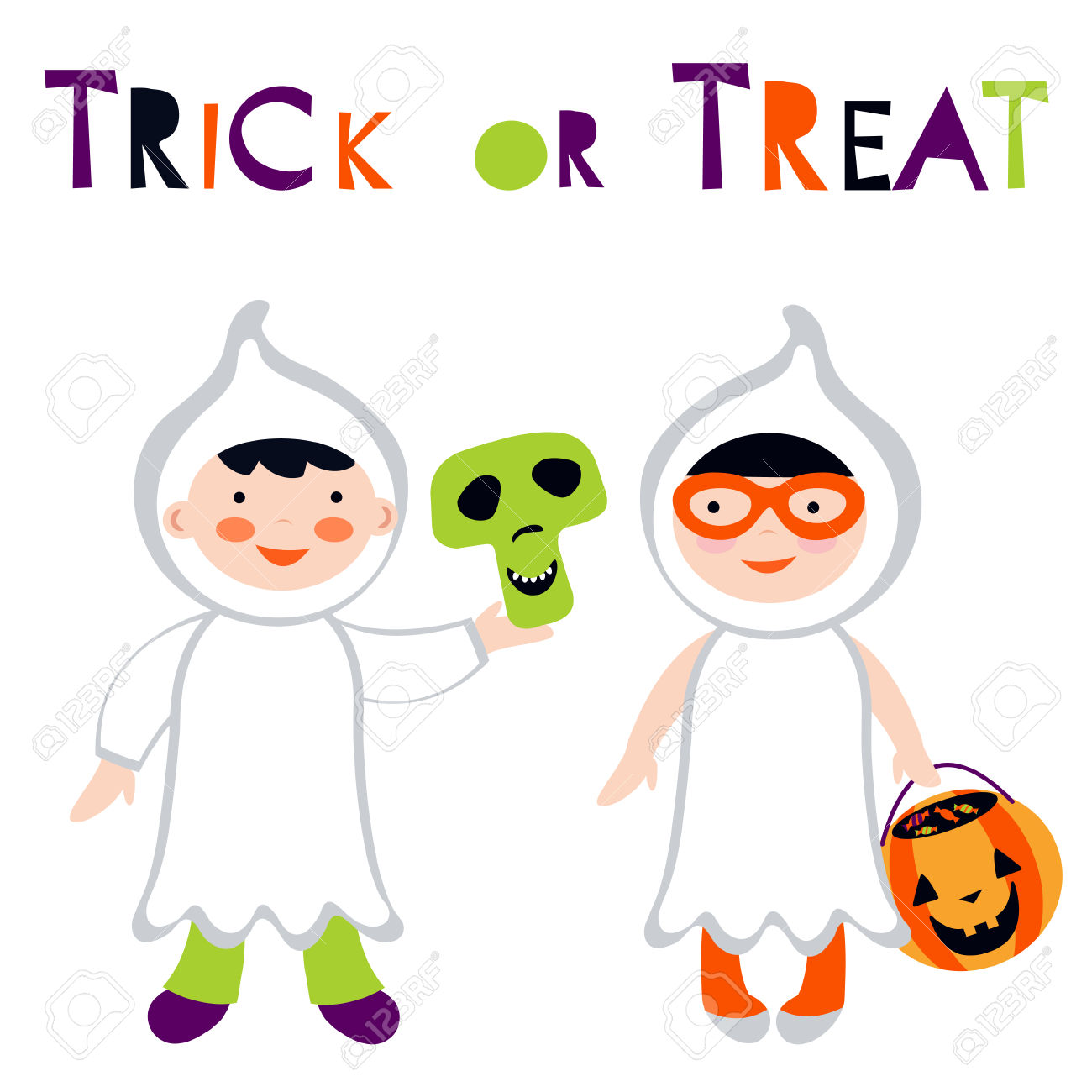 Trick Or Treat Kids Illustration Boy And Girl In Ghost Costumes.