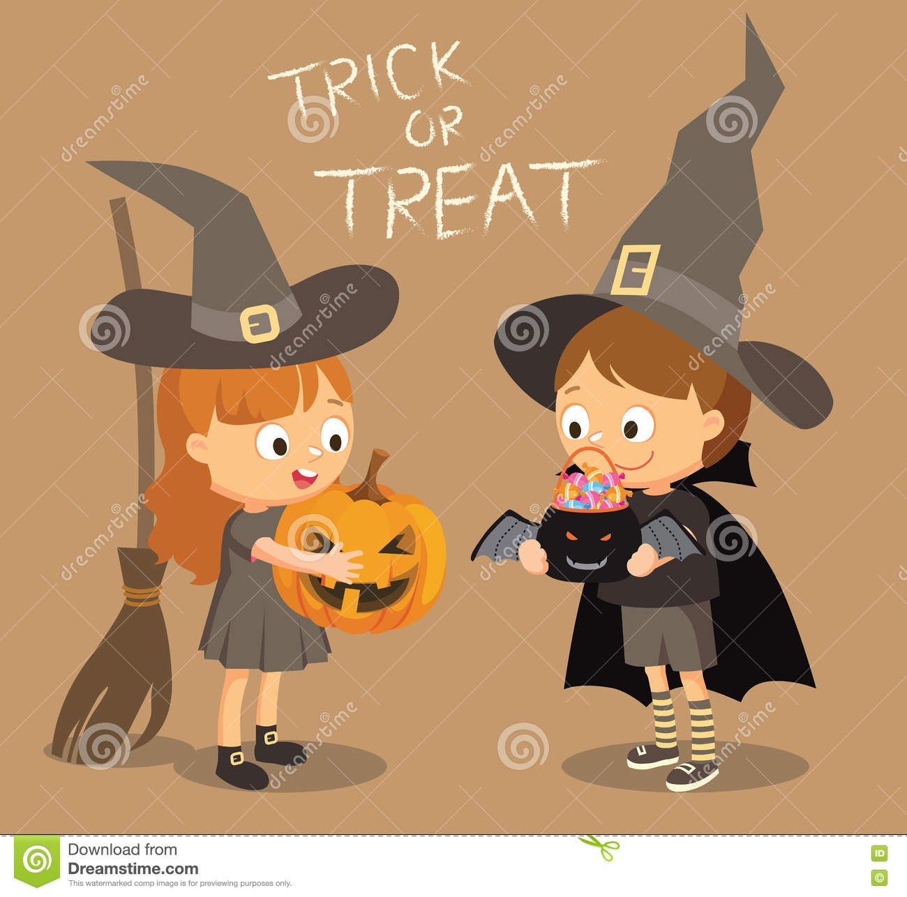 Halloween Festival Trick Or Treat, Costumed Boy And Girl Stock.
