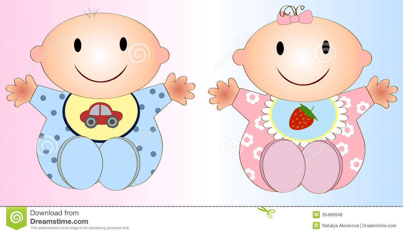 Twin Baby Boy And Girl.Vector Illustration Two Stock Illustration.