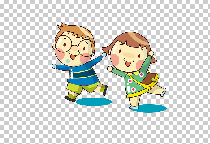 Cartoon , child, illustration of boy and girl walking PNG.