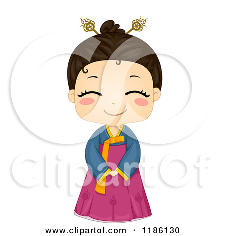 Cartoon of a Cute Smiling Korean Girl Wearing a Traditional.