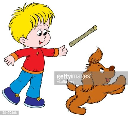 Boy and Puppy Clipart Image.