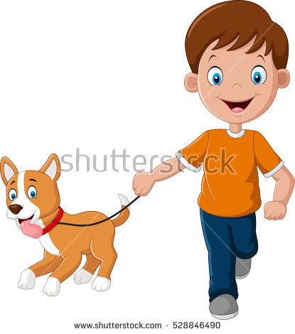 Dog And Boy Clipart.