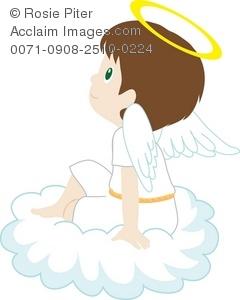 Clip Art Illustration Of A Little Boy Angel Sitting On A Cloud.
