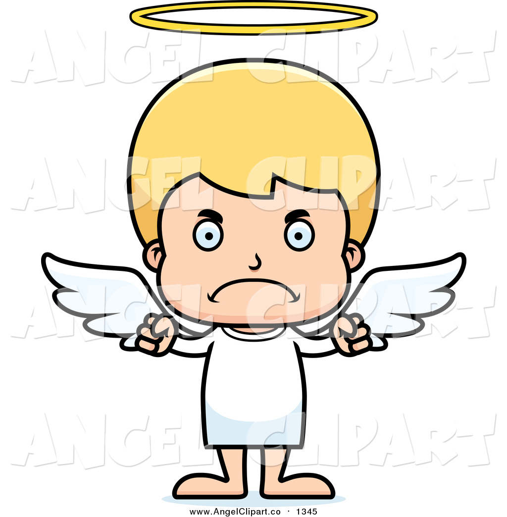Clip Art of a Cartoon Angry Blond Caucasian Boy Angel by Cory.