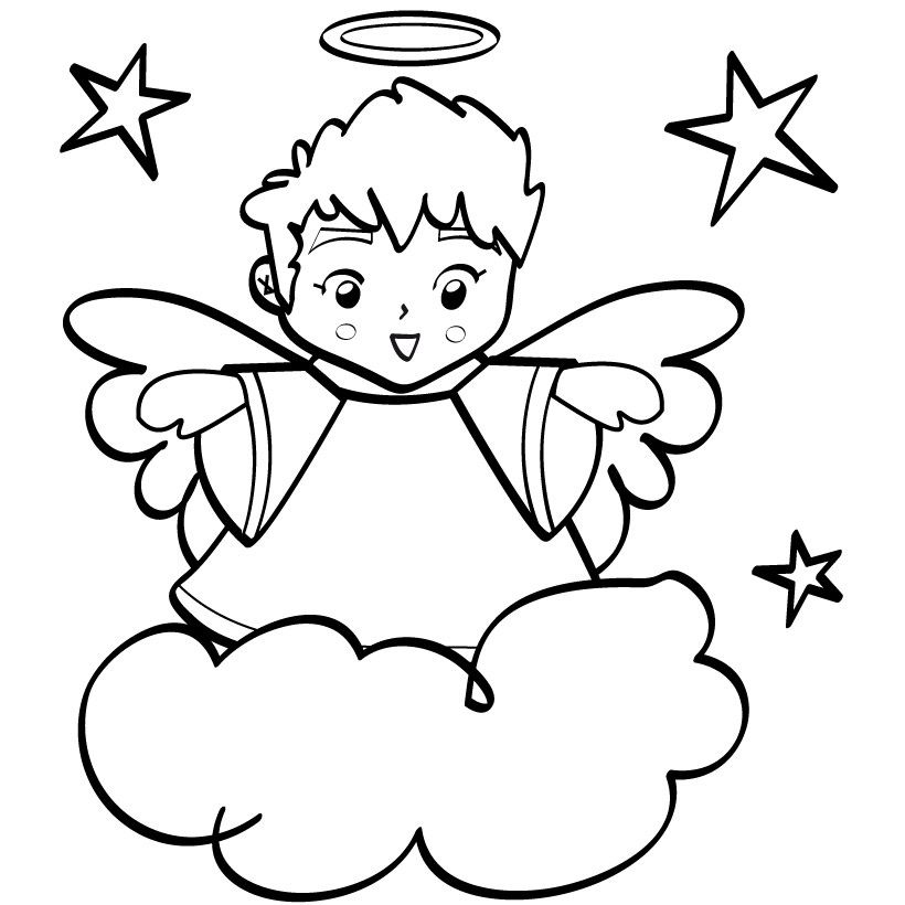 Boy Angel Wings Clipart Black And White