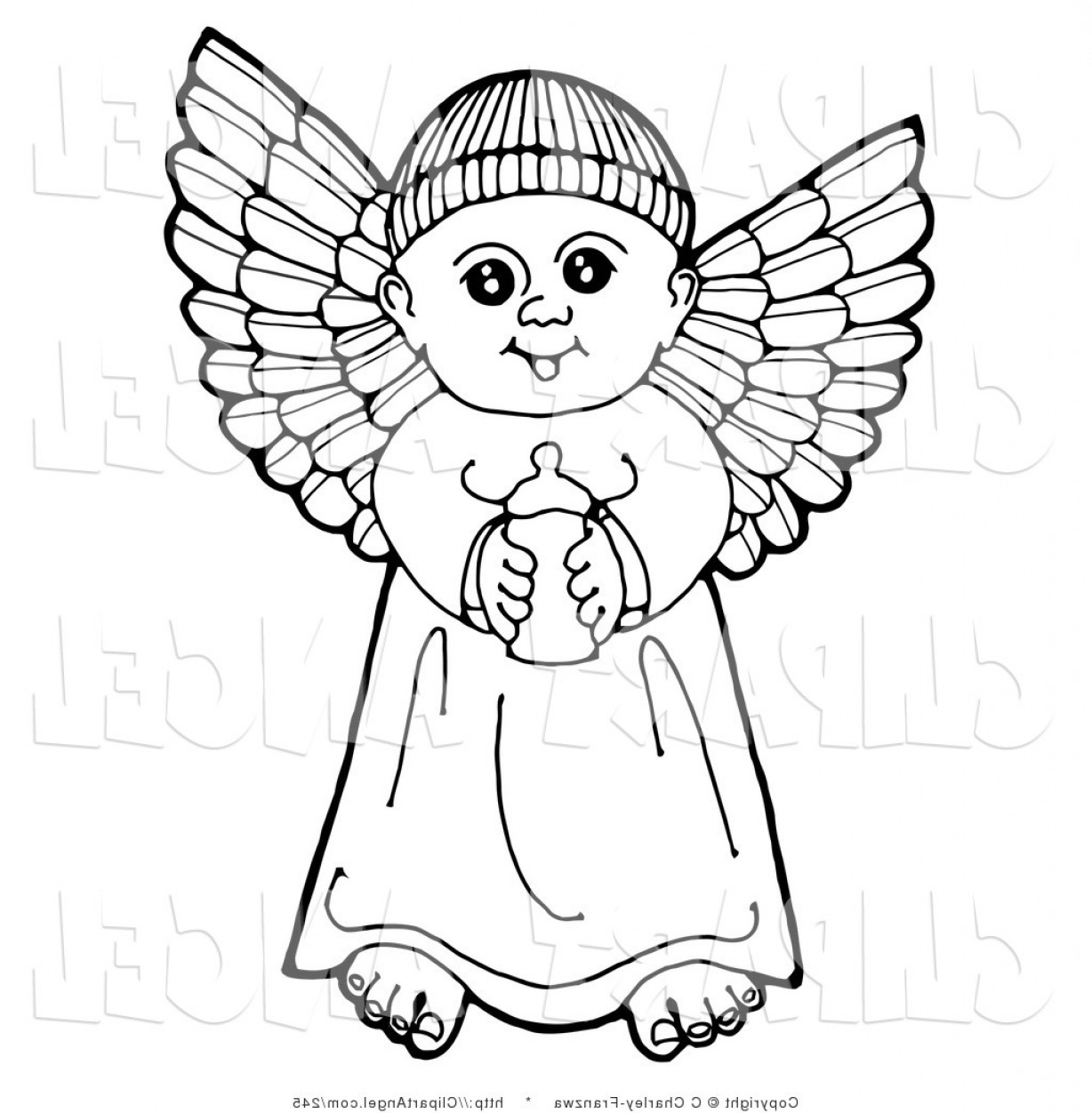 Best Angel Boy Clipart Black And White Draw.