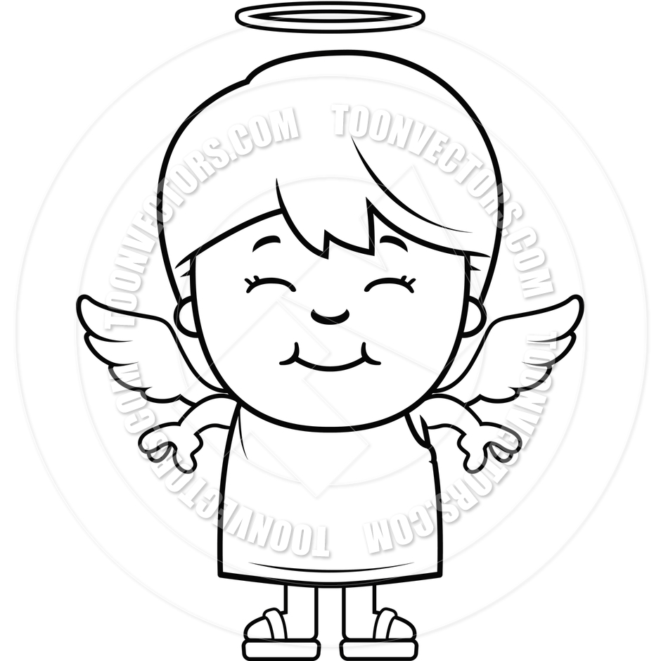 Angel Boy Clipart Black And White.