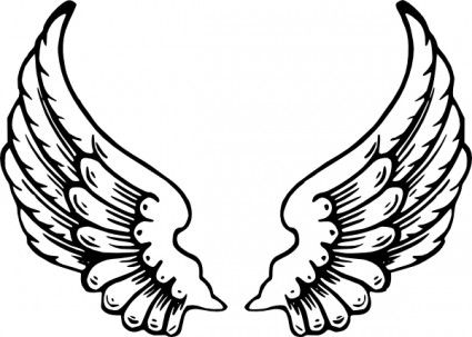 Boy Angel Wings Clipart Black And White.