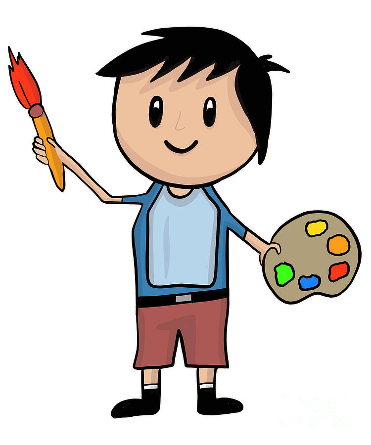 Little Artist Boy With Brush And Palette.