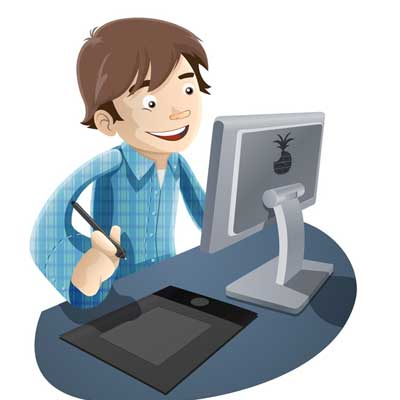 Boy Working With Computer Clipart Picture Free Download.