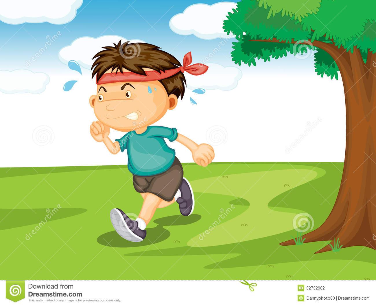 Running In Park Clipart.