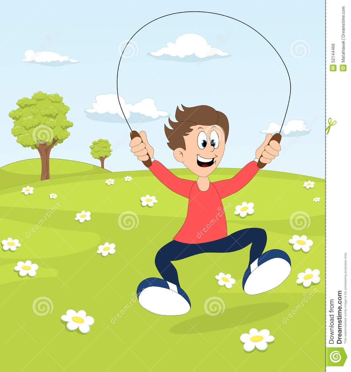 A Boy Playing With The Skipping Rope In A Park Stock Illustration.