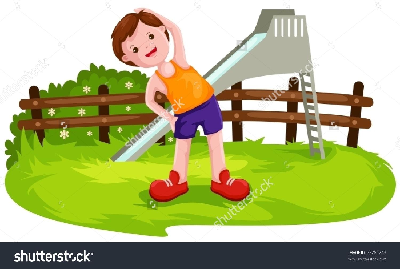 Illustration Cartoon Boy Exercise Park Stock Vector 53281243.