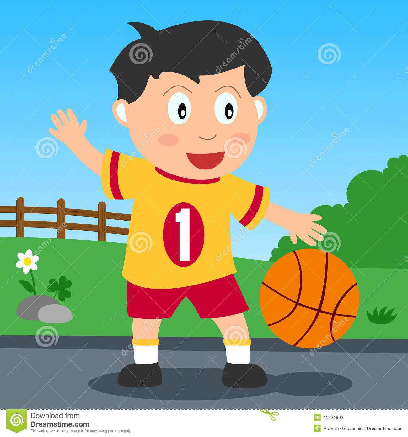 Basketball Boy In The Park Stock Photography.