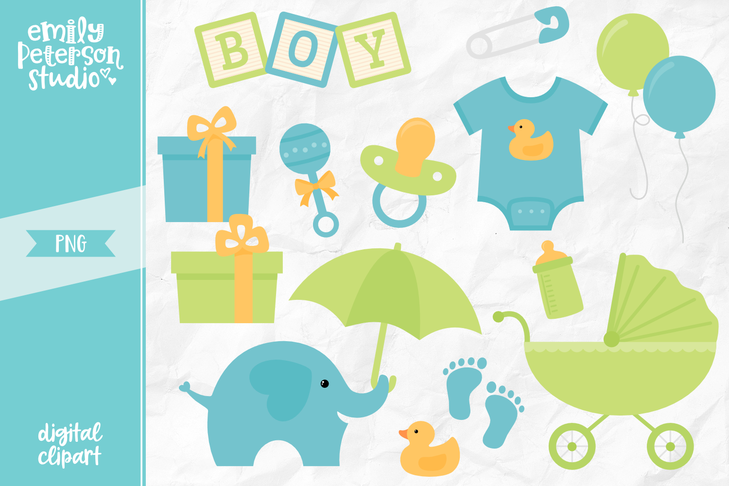 Boy Baby Shower Clipart Illustration PNG.