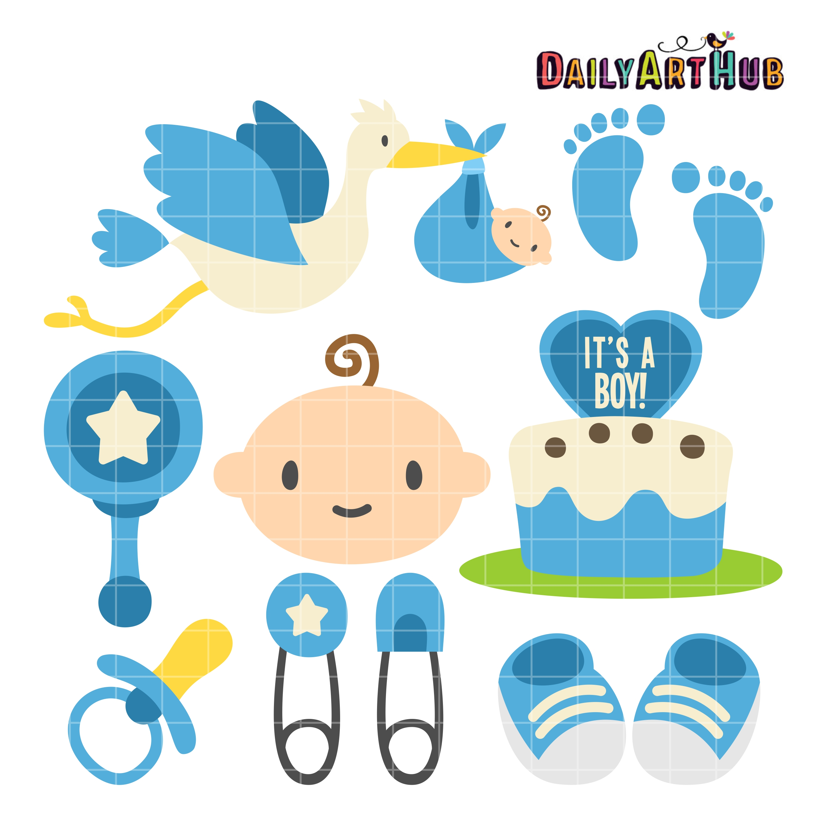 Boy Baby Shower Clip Art Set.