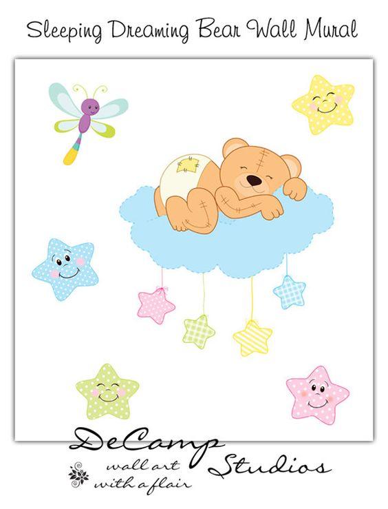Sleeping Teddy Bear Wall Mural Decal for baby boy or girl nursery.