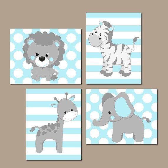 Baby BOY Nursery Wall Art, Blue Gray Nursery Artwork, Elephant.