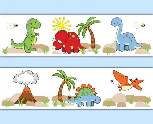 Dinosaur wallpaper border wall art decals for baby boy prehistoric.
