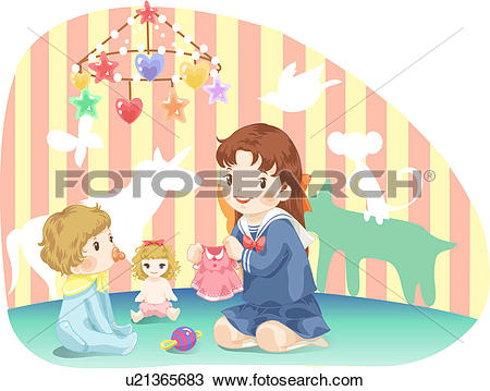 Drawing of sitting, kid, babysitting, baby, girl, pacifier, child.
