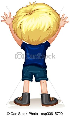 Clipart Vector of Back View of a Little Kid Boy Holding a Pencil.