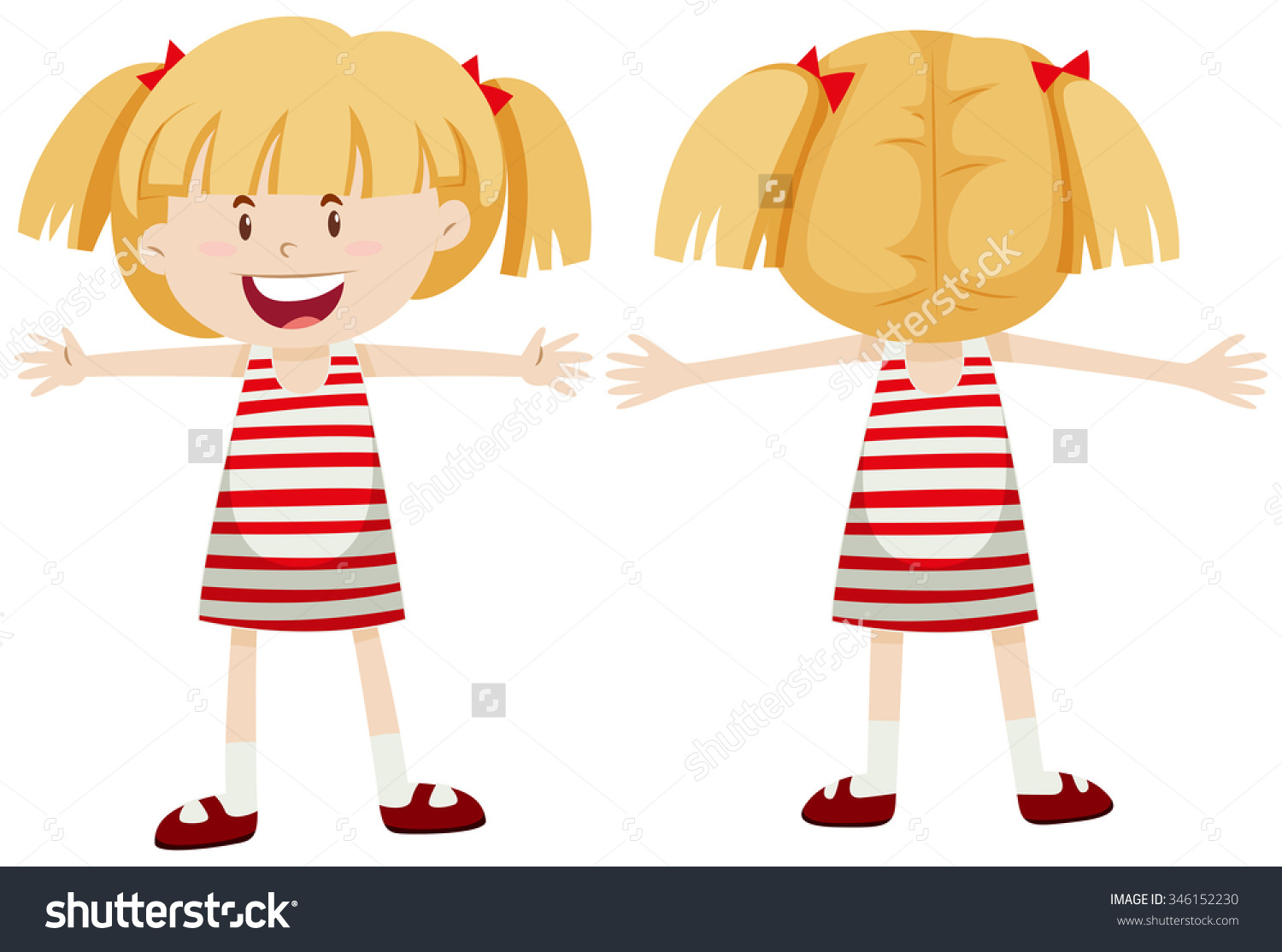 Little Girl Front Back View Illustration Stock Vector 346152230.
