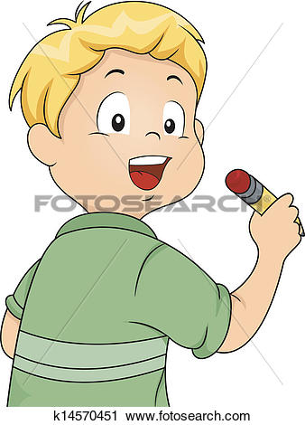 Clipart of Back View of a Little Kid Boy Holding a Pencil.