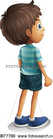 Clip Art of A back view of a young boy k13877788.