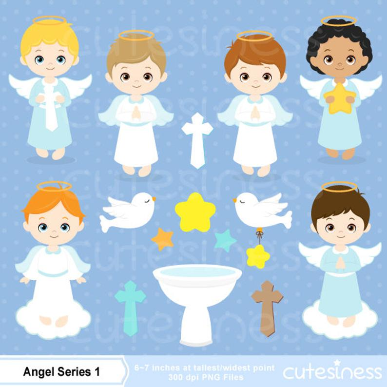 Angel Clipart, baptism clipart, little angel baptism, angel baby shower  invite, baby boy baptism, blue and white.