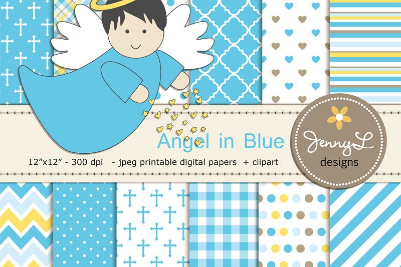 Boy Baptism Angel Digital Papers and Angels Clipart.