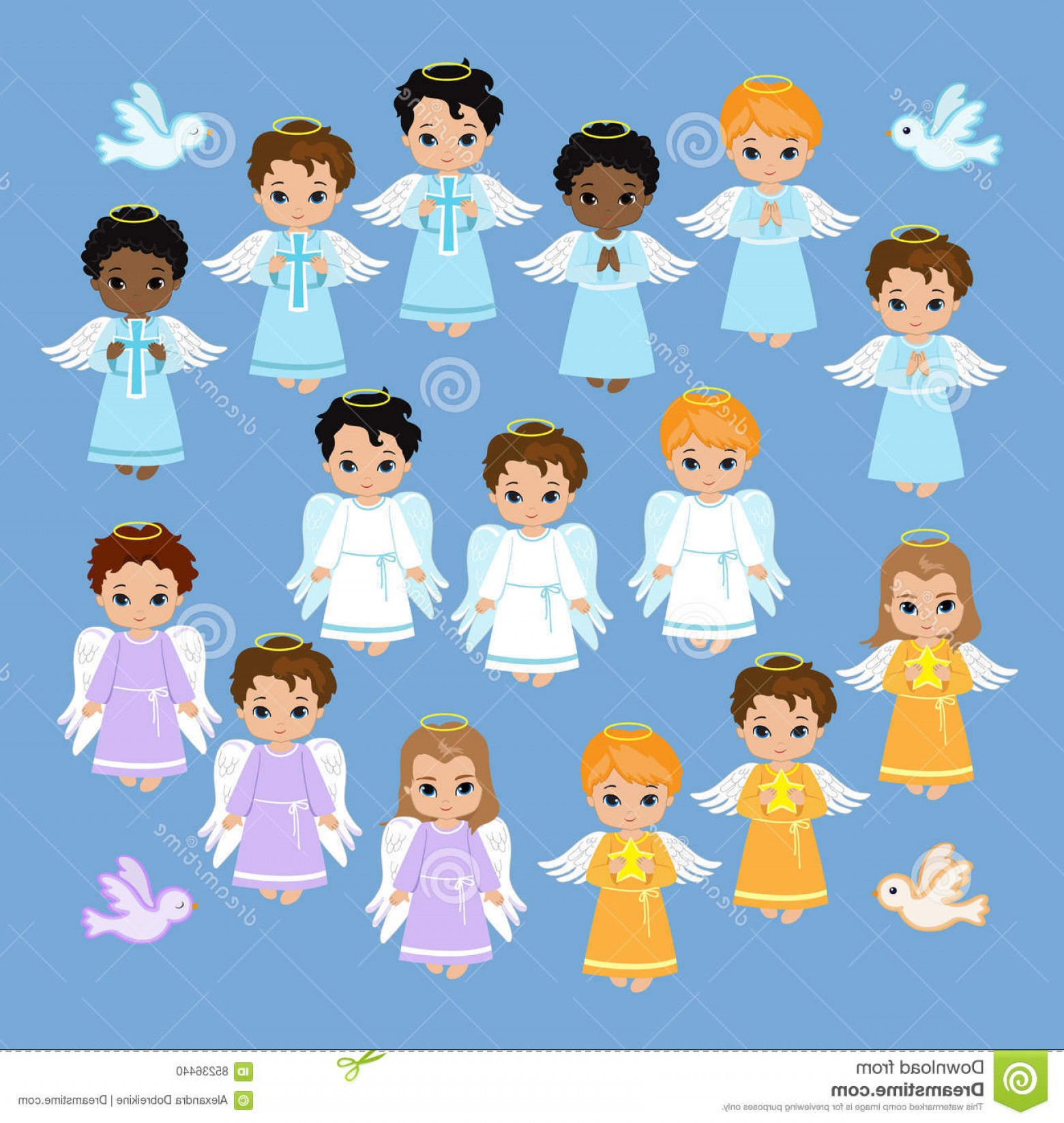 Stock Illustration Angel Digital Clipart Set Angel Boys Sky Baptism.