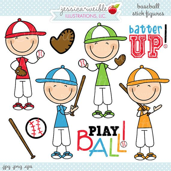 Baseball Boy Stick Figures Cute Digital Clipart.