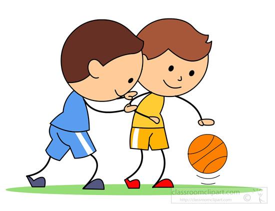 Boy and girl playing basketball clipart.