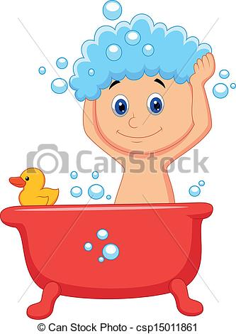 Clip Art Vector Of Cute Cartoon Boy Having Bath