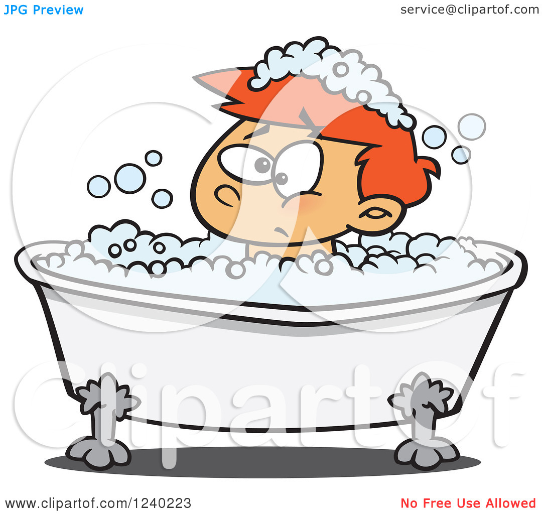 Clipart of a Grumpy Red Haired Boy in a Bubble Bath.