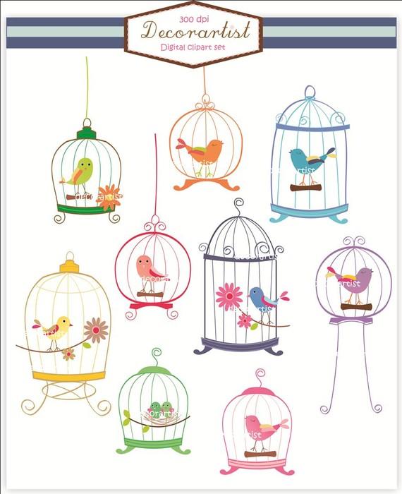 INSTANT Download birdcage clipart, bird clipart , Digital clipart.