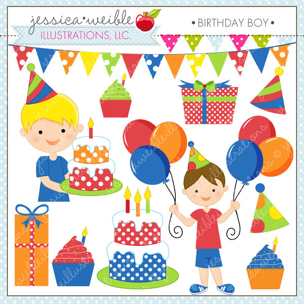 Birthday Boy Cute Digital Clipart for Commercial or Personal Use.