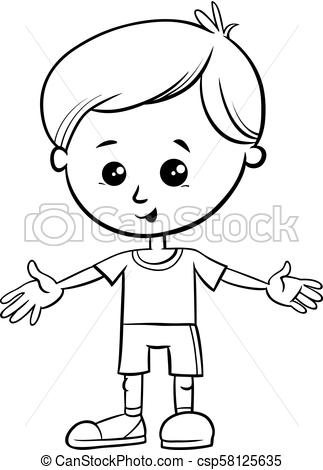 Cute little boy character coloring book. Black and white cartoon.