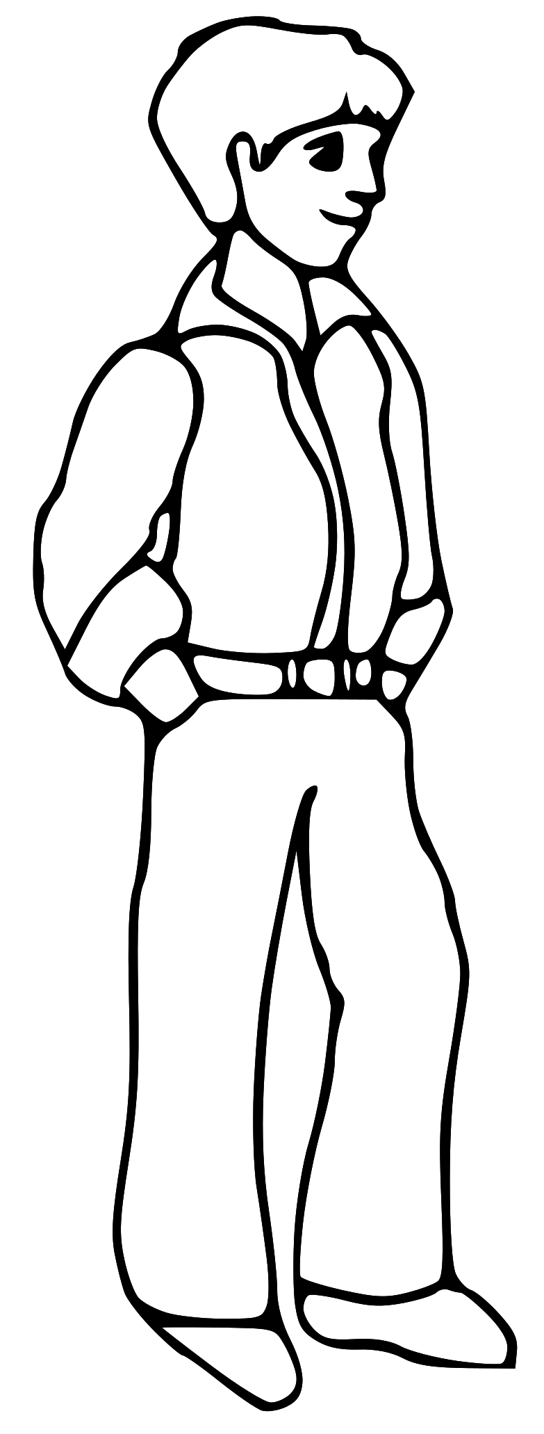 Black And White Clipart Boy.