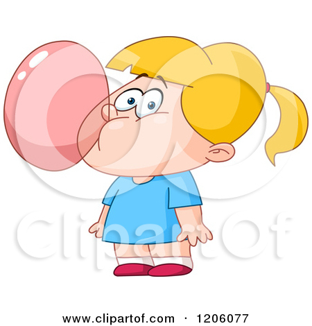 Kid Blowing Bubble Gum Clipart.