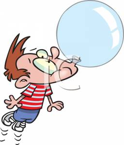 Clipart Cute Blowing Bubble Gum.